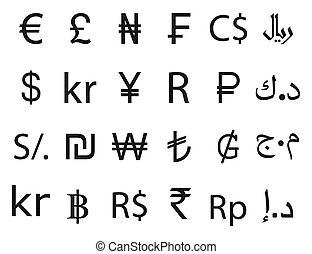 ikon, pénznem, set., jelkép, ábra, lakás, design., vektor