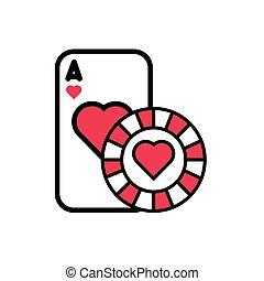ikon, pókerzseton, szív, elszigetelt, kártya, kaszinó