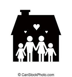 ikon, pictogram, család, épület
