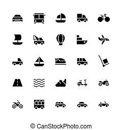 ikon, szállítás, batyu, jármű