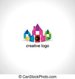 ikon, színes, épület