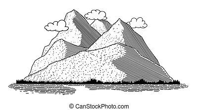 ikon, színhely, hegy