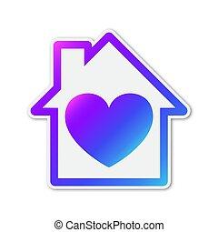 ikon, szív, vektor, alakzat., színes, épület