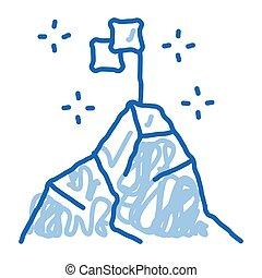 ikon, szórakozottan firkálgat, húzott, ábra, hódító, kéz, tető, hegy
