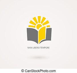 ikon, szürke, concepts., tudás, sárga, oktatás