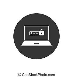 ikon, személyes, fogalom, isolated., laptop, figyelmeztetés, meghatalmazás, jelszó, zár, felhasználó, belépés, biztonság, vektor, form., login