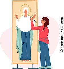 ikon, szobafestő, ábra