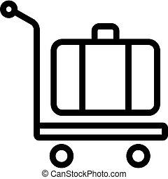ikon, targonca, kézikönyv, bőrönd, áttekintés, vektor, ábra, kerekes