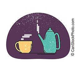 ikon, teáskanna, csésze