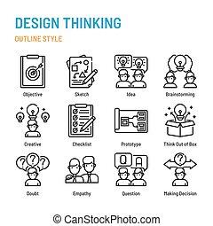 ikon, tervezés, áttekintés, állhatatos, gondolkodó, jelkép