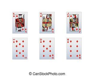 ikon, tervezés, kártya, illeszt, gyémánt, clorful, állhatatos