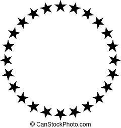 ikon, tervezés, vektor, karika, csillaggal díszít
