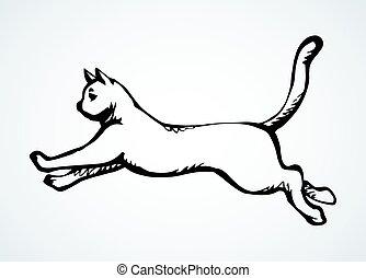 ikon, ugrás, vektor, rajz, cat.