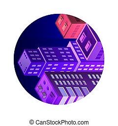 ikon, város, isometric