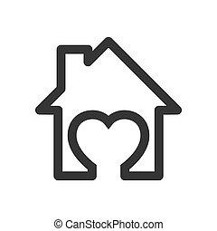 ikon, vector., -, épület