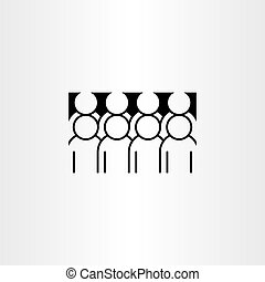 ikon, vektor, csoport, clipart, emberek