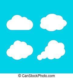 ikon, vektor, felhő