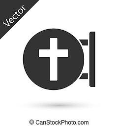ikon, vektor, keresztény, szürke, kereszt, fehér, templom, cross., háttér., elszigetelt