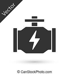 ikon, vektor, szürke, gép, fehér, ellenőriz, háttér., elszigetelt