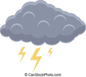 ikon, villámlás, felhő, karikatúra, mód