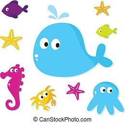 ikonok, állatok, backgroun, tenger, elszigetelt, halfajták, karikatúra, fehér