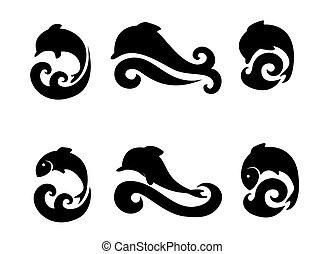 ikonok, állhatatos, fish, delfinek