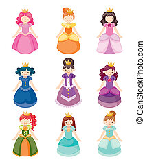 ikonok, állhatatos, hercegnő, karikatúra, gyönyörű