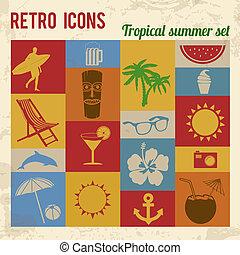 ikonok, állhatatos, nyár, tropikus