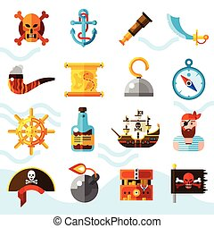 ikonok, állhatatos, szín, kalózkodik