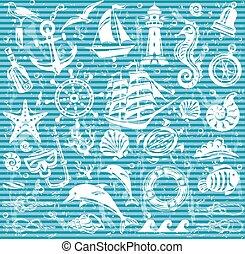 ikonok, állhatatos, tengeri, tenger