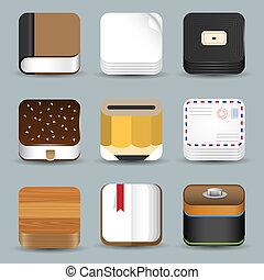 ikonok, állhatatos, vektor, app