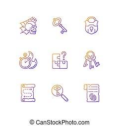 ikonok, állhatatos, vektor, gradiens, lineáris, keresés