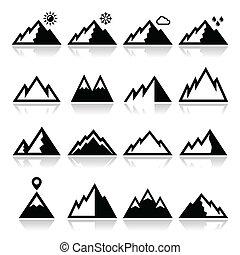 ikonok, állhatatos, vektor, hegyek