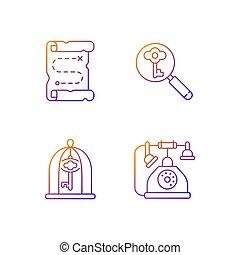 ikonok, állhatatos, vektor, kibogoz, gradiens, lineáris, keresés