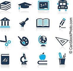 ikonok, égszínkék, sorozat, //, oktatás