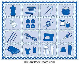 ikonok, összefűz, szab, varrás, horgolás