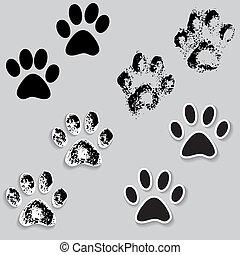 ikonok, útvonal, mancs, macska, lábak, állat print, shadow.