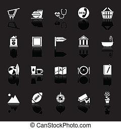 ikonok, aláír, kifejez, black háttér, állás, közönség