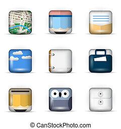 ikonok, app, állhatatos, vektor, 3