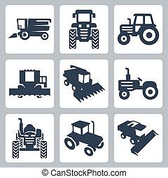 ikonok, aratógép, elszigetelt, vektor, kartell, traktor