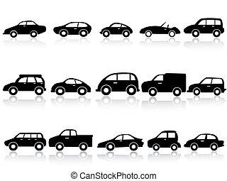 ikonok, autó, árnykép