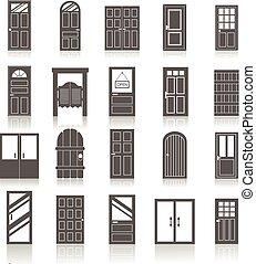 ikonok, belépés, elszigetelt, ajtók, állhatatos, elülső