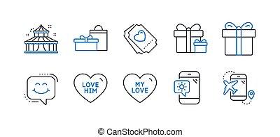 ikonok, cédula, állhatatos, vektor, szeret, telefon., ünnepek, hasonló, őt, időjárás