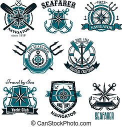 ikonok, címertani, vektor, tengeri, seafarer, tengeri