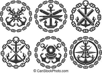 ikonok, címertani, vektor, tengeri, tengeri, vasmacska