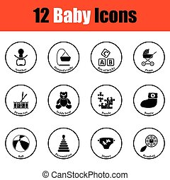 ikonok, csecsemő, állhatatos