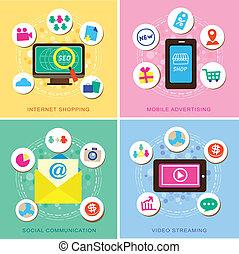 ikonok, e-commerce, díszlet tervezés, lakás