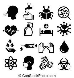 ikonok, -, egészség, állhatatos, fertőzés, vírus