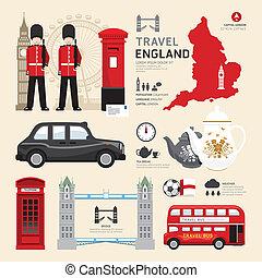 ikonok, egyesült, utazás, concept., london, vektor, tervezés, lakás, királyság