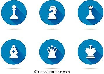ikonok, egyszerű, elszigetelt, hosszú, sakkjáték, árnyék, fehér